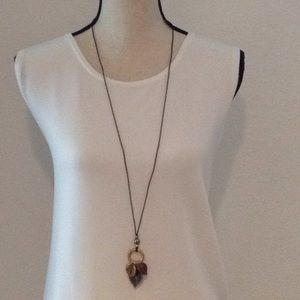 1990's leaf charm black corded necklace